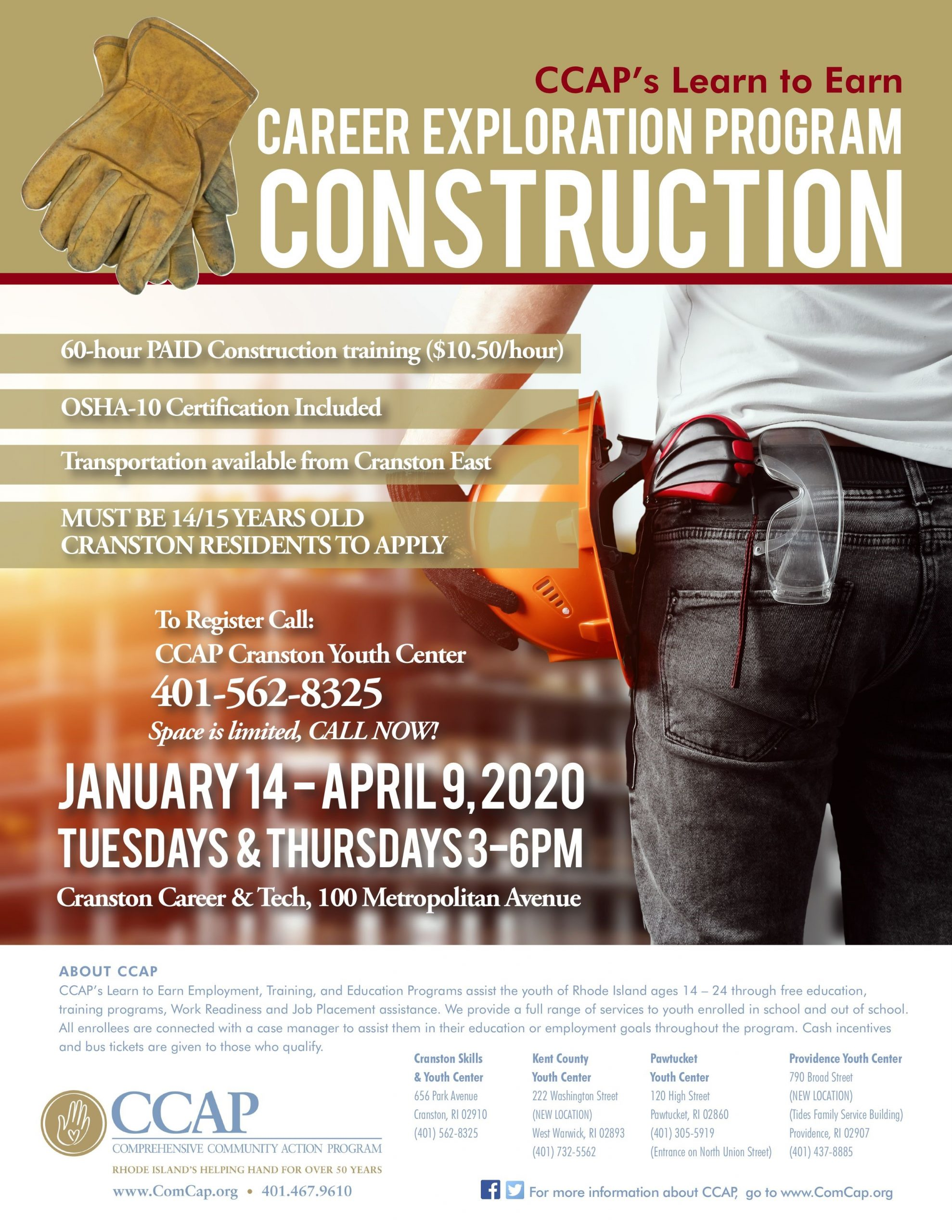Ccap Announces Its Learn To Earn Paid Career Exploration Program Construction Comprehensive Community Action Program